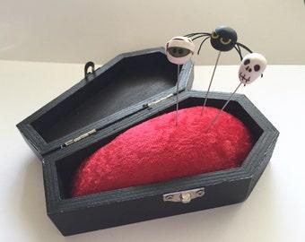 Coffin Pincushion and Decorative Pin Set