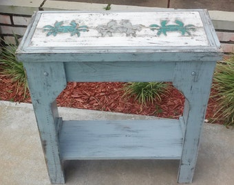 BEACH DREAMS Series, Weathered Beach House Style Table, Wood Mosaic Crabs Inset