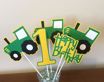 5 Piece Green and Yellow Tractor Centerpieces Farm Decorations