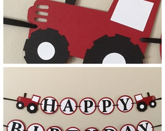 Red Tractor Happy Mini package farm birthday party decorations
