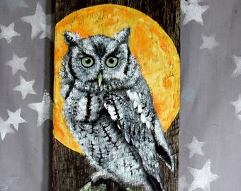 "Eastern Screech Owl, Ozarks barnwood, hand painted, rustic 5 1/2"" x 12"""