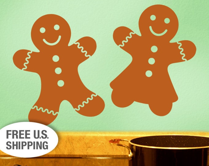 Gingerbread Decor - 4 Cookie Kitchen Wall Decals, Vinyl Wall Decals, Gingerbread Man Art, Christmas Decorations, Fall Holiday DIY Home Decor