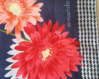 Caruso Armando daisies designer bandana Hankie navy blue cotton