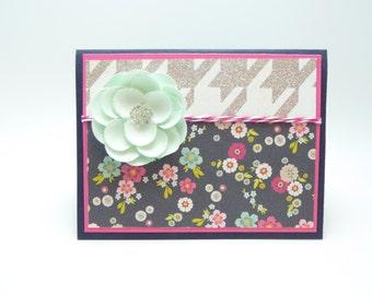 Happy Birthday Greeting Card for Her, Aqua Flower Birthday Card, Floral Greeting Card, Paper Flower Card, Handmade Paper Greeting Card