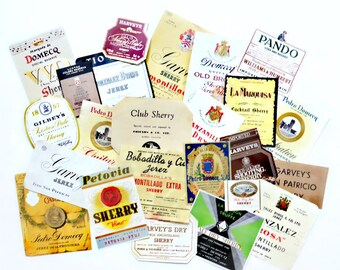 24 Sherry Wine Labels