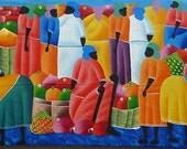 "Haitian Painting, Canvas Art, Painted Wall Art, Original Painting, Haitian Art, Canvas Painting, Original Art of Haiti - 12"" x 30"""