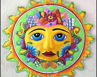 "Sun Art - Bright Pastels - Hand Painted Metal Wall Hanging - Metal Art Sun, Decorative Sun Tropical Decor - 24"" -  M-100-GR-24"
