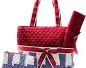 Burgundy Quilted Alabama Diaper Bag Set Changing pad..Personalize it for FREE... at no charge.... WOW What a Deal
