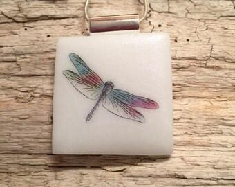 Dichroic glass jewelry, Dichroic Glass Pendant, dragonfly pendant, Fused Glass Jewelry, Fused glass pendant, glass Necklace, Dichroic Glass