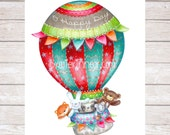 Nursery Art Print,Nursery Wall Art, Childrens Wall Art,Hot Air Balloon Print,Baby Wall Art,Boys Bedroom,Girls Bedroom,Baby Shower Gift