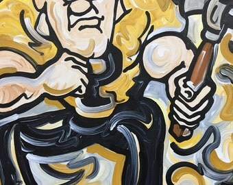 30x24 Officially Licensed Pudue University Painting Justin Patten Art College Football Basketball Purdue Pete Train