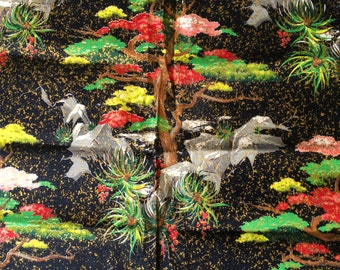 Sale!  Vintage Barkcloth Palm Trees Cocnuts Black with Metallic Awesome Color