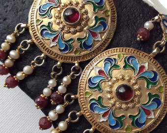BALALAIKA EARRING russian vintage antique inspired enameled gold ruby pearl hand crafted artisan jewelry