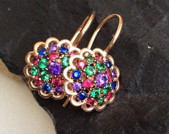 Josephine Earrings  sterling pink gold victorian antique inspired