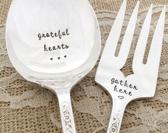 Set of two- grateful hearts gather here  , Hand Stamped serving spoon & fork. Queen bess