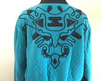Vintage 1980s designer Kansai Yamamoto KBS teal blue quilted black beaded silk bomber windbreaker jacket size S M