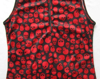 Women's Cycling Jersey Top Sassy Skull print - Small