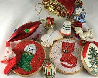 Vintage Lot of Christmas, Ribbon, Ornaments,1980s