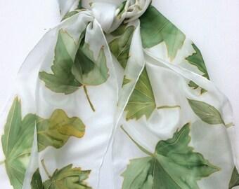 Green Leaves hand painted silk scarf. Leaf Silk Scarf.  Silk scarves. Hand painted scarves