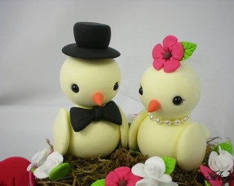 Customise Love Birds Wedding Cake Topper with Sweet Floral Nest Choice of Colors