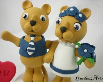 Custom wedding cake topper--Love MASCOT couple with circle clear base--NEW