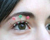 Christmas Candy Eyelash Jewelry -  holiday eyelashes with red and green sweets
