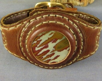 Leather Stone Cuff Wrist Band Bracelet Natural Stone hand crafted beauty Owyhee Picture Jasper