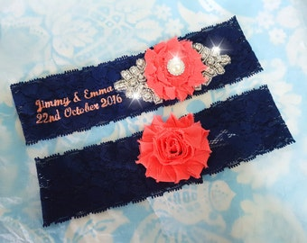 Navy and coral Wedding Garter - monogrammed stretch lace garter - crystal - rhinestone - crystal garter - personalized - customized - navy
