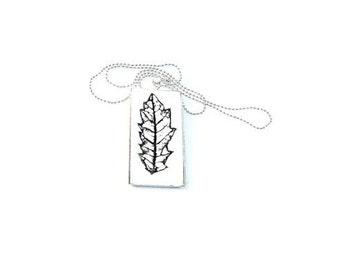 Necklace Botanical Black and White Leaf Pendant Necklace