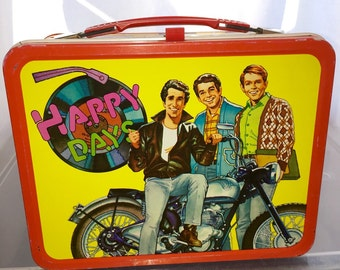 1976 paramount pictures Happy days TV show Fonz thermos metal lunch box lunchbox