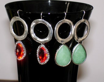 SHOP CLOSING SALE: Ashira Silver Circle with Hot Orange & Green Jade Drop Earring