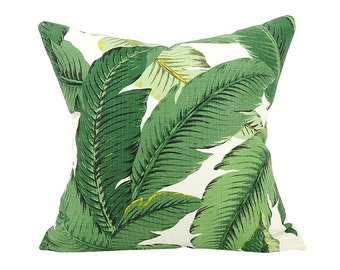 Outdoor Throw Pillows, Decorative Pillow Cover in Palm Leaf, Cushion Cover, Beach Decor, Green Pillow, Toss Pillows - Made to Order