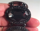 Sale 20 Vintage smoky glass rhinestone stretch bracelet.