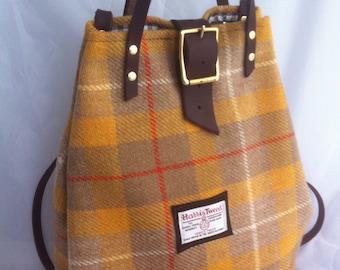 Harris tweed backpack, Harris tweed rucksack, tweed tote, tweed purse, yellow rucksack, tweed diaper bag