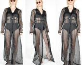 90's BLACK Sheer DUSTER COAT. Shirt Dress. 1990's Grunge Mod Minimalist Witchy.   Size - M