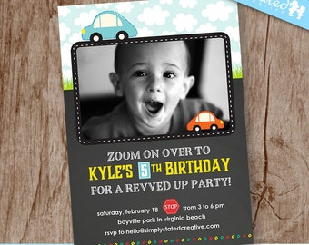 Boys Party Invitation, Kids Birthday Party Photo Invitation, Car Picture Invite - DiY Printable, Print Service Available || Vintage Zoom
