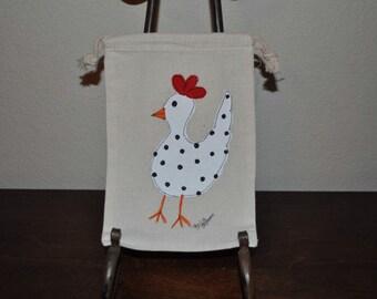 Polk a Dot Chicken Gift Muslin Hand Painted Gift Wrap Treat Bags