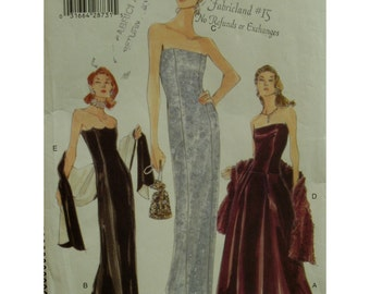 Strapless Evening Gown Pattern, Boned, Fitted, Princess Seams, Scallop Bustline, Flared Skirt, Fishtail, Vogue No. 9947 UNCUT Size 14 16 18