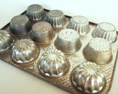 Vintage Multiple Designs Muffin Tins Bake King 1 Dozen Total FULL SIZE Cupcakes with Three Different Shapes