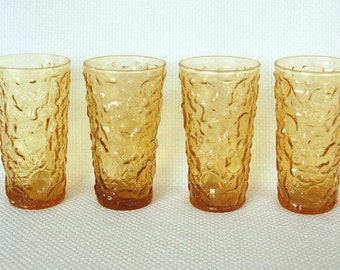 Vintage Set of 4 Anchor Hocking Amber Lido Milano 12 Ounce Glass Tumblers in Amber Honey Gold