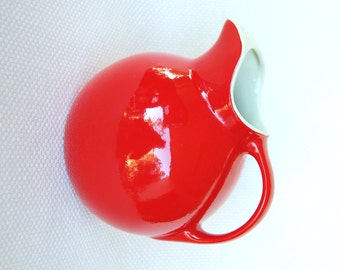 Vintage Chinese Red Hall Ball Jug with Ice Guard 36 Ounce Hall's Superior Quality Kitchenware Made in U.S.A. Bright Red Ball Pitcher