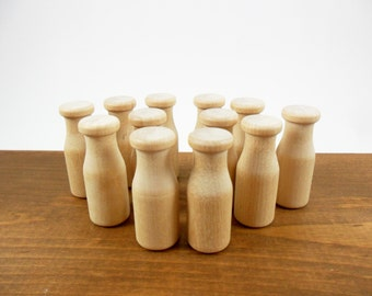 "Wood Milk Bottles 2"" H x 3/4"" Diameter Miniature - 12 Pieces"