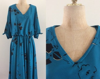 SALE 1970's Deep Turquoise Blue Floral Polyester Vintage Dress Size medium Large XL by Maeberry Vintage