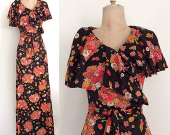 1970's Black Vibrant Floral Print Wrap Maxi Dress w/ Ruffle Collar Vintage Dress Size XS Small by Maeberry Vintage
