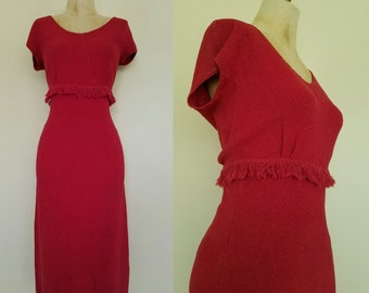 1960's Deep Red Wool Knit Fringe Bust Wiggle Dress Mad Men Vintage Dress Size Small Medium by Maeberry Vintage