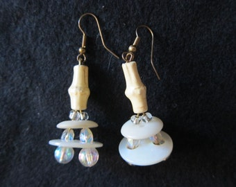 Vintage Mother of Pearl Button Earrings