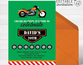 INSTANT DOWNLOAD Harley Davidson Party Editable Invitation / Harley Davidson Invitation  / EDITABLE Harley Davidson Invitation