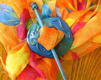 blue copper shawl pin