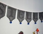 Reserved listing for Alycia, custom name Stellan banner,  filet crochet garland in gray with monaco blue pom-poms