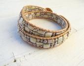 Double Wrap Bracelet,  Friendship Bracelet,  Picasso Glass, Spring Green, Bohemian Hippie, Boho Chic, Camp Style, Czech Glass Jewelry